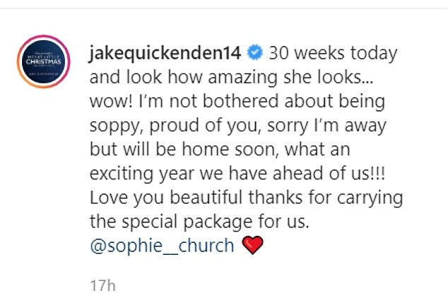 Cute:Jake Quickenden's pregnant girlfriend Sophie Church showed off her baby bump in a sweet snap on Sunday, as she reached 30 weeks