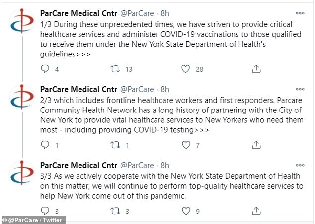 On Saturday ParCare shared a statement that they complied with the state's vaccine distribution guidelines and are cooperating in the investigation