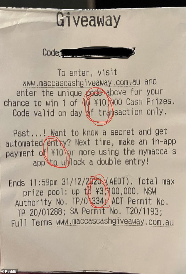 This is the receipt from a suburban Adelaide McDonald's uploaded to internet discussion site Reddit on Sunday. The Chinese yuan symbol can be written with one cross-stroke or two