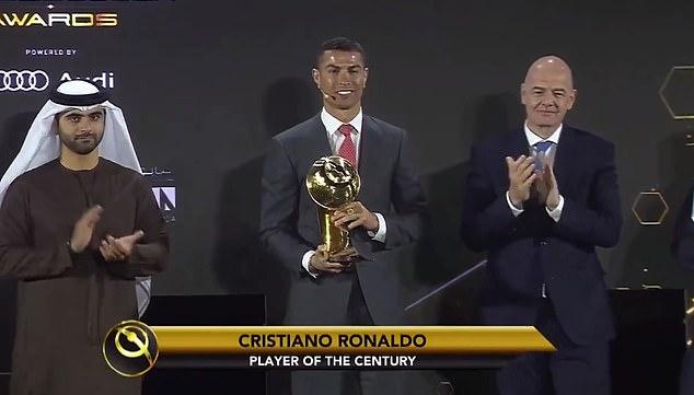 Cristiano Ronaldowas awarded the Player of the Century award at the Globe Soccer Awards