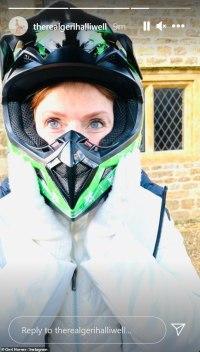 Geri Horner dons a lime green helmet as she takes her go-kart for a spin