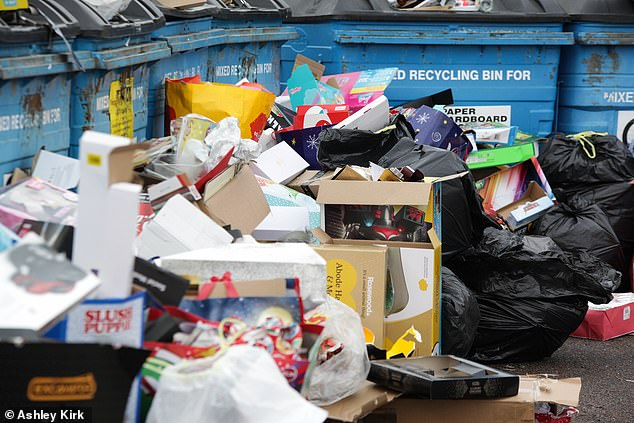 A recycling centre at West Park in Long Eaton was also full of Christmas rubbish after people flocked to clear their houses of toy boxes, trees and bin bags