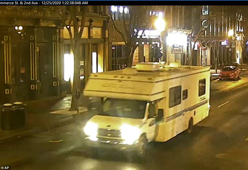 This image taken from surveillance video provided by Metro Nashville PD shows the RV that was involved in a blast on Friday. Loudspeakers on the vehicle played the soul hit 'Downtown' before it detonated