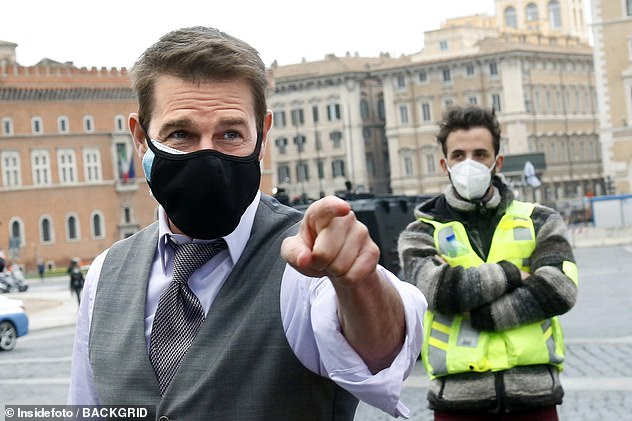 Not impressed? The actor is said to have given staff a dressing down after he caught them breaking UK Covid rules at Warner Bros. Studios in Leavesden, Hertfordshire (pictured filming in Rome in November)