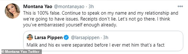 Got receipts: In Yao's scathing tweet back to Larsa she accused her of lying as she said 'receipts don't lie' before claiming Pippen looked like a sad joke
