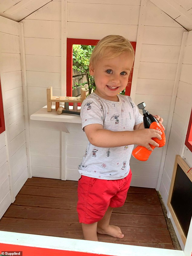 'We are at Bunnings almost daily after buying our first home and Harry is obsessed with it, so it makes sense that he can have this mini Bunnings Warehouse of his own,' Emma told FEMAIL (Harry pictured)
