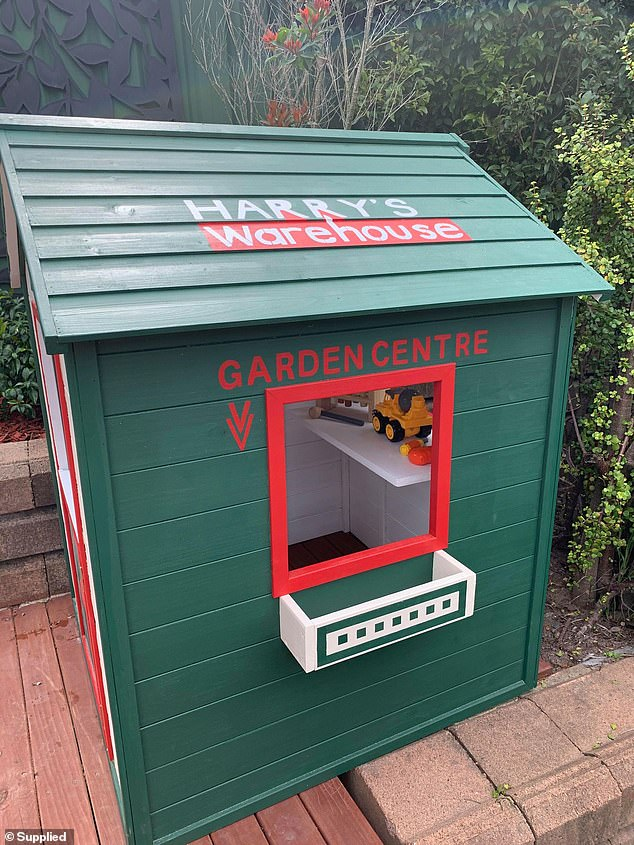 A 26-year-old mother has revealed how she converted a cubby house into a miniature Bunnings Warehouse for her two-year-old son (the finished results pictured)
