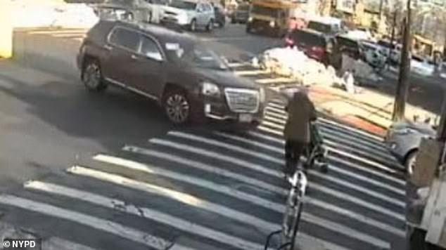 At around 2:20pm, a 62-year-old grandmother entered the crosswalk while pushing a stroller carrying her three-year-old grandson