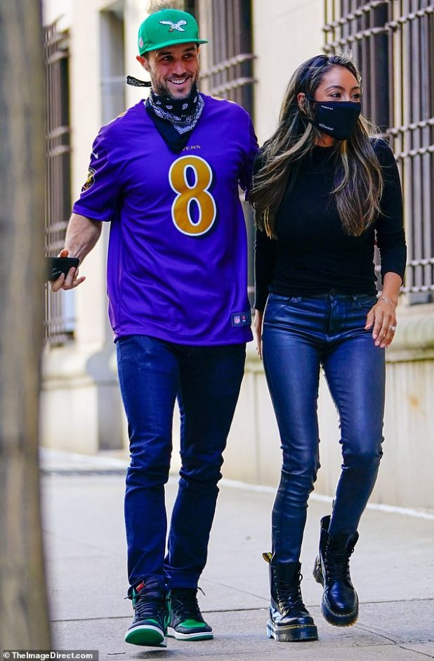 Romantic Walk: Teshia Adams enjoyed a romantic stroll with her husband-to-be Zac Clarke in New York City, as they skipped breakfast before they visited their family across the river in New Jersey.