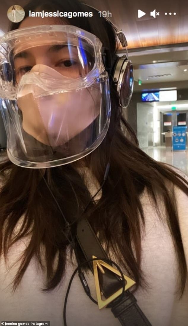 Taking precautions: In a post on Instagram Stories on Sunday, Jessica shared a photo of herself walking through an airport terminal with a face shield on