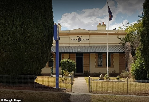 Police found the woman's white Volkswagen Polo in a ditch and she was taken to Yass Police Station (pictured). She then allegedly returned a blood alcohol reading of 0.416