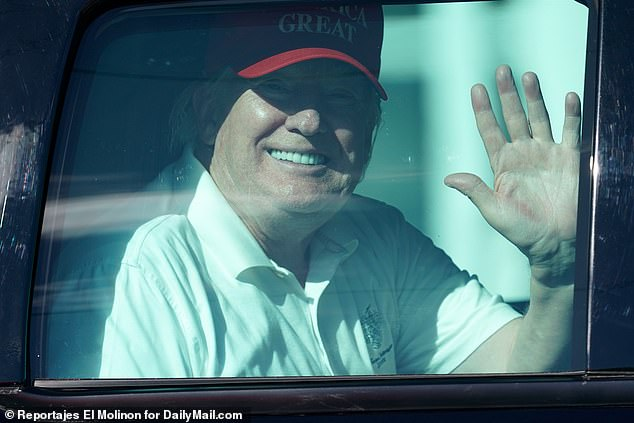 Trump is seen returning to Mar-a-Lago on Sunday following a day at the golf course