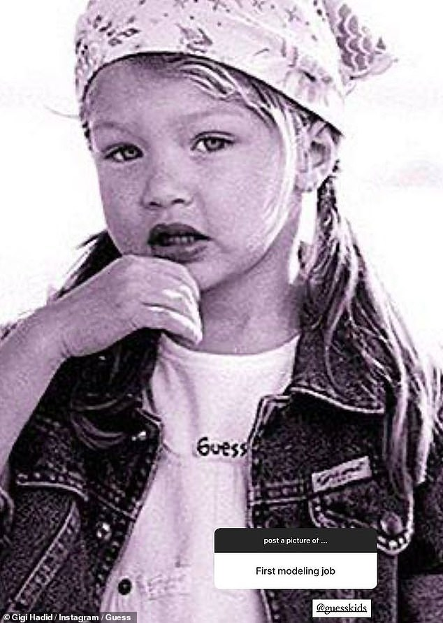 Baby face: Gigi also posted an adorable photo of herself as a baby in a Guess ad, when someone asked to see her 'first modeling job'