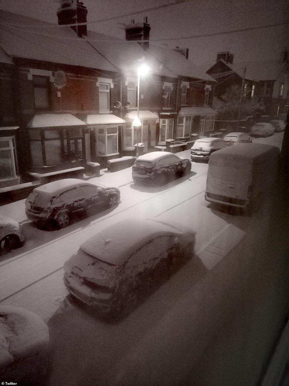 Pictures show snow in Stoke-on-Trent in the Midlands today, as experts predict more snow for later on, including in parts of the south