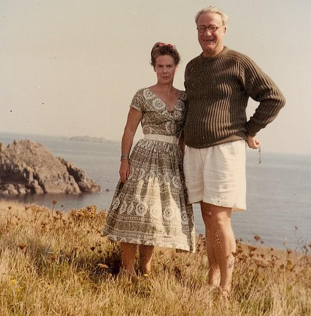 Tragic past:The celebrity chef was 17-years old when dad Eric, who struggled with bi-polar disorder, leaped to his death from a clifftop close to the family's holiday home on the Cornish coast (pictured: Eric with wifeDorothy, Stein's mother)