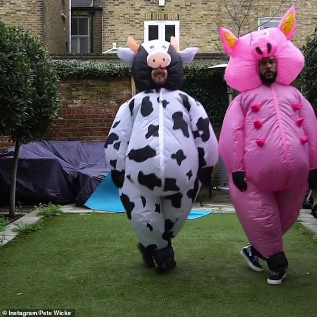 Dancing: The TOWIE star, 32, dressed in an inflatable pink pig costume, while the Made In Chelsea star, 27, wore a cow version as they danced to The Git Up by Blanco Brown