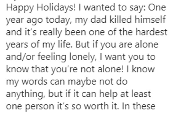 In an emotional Instagram post, the teenager urged those who 'feel alone' to seek help and shared the phone number for suicide prevention services