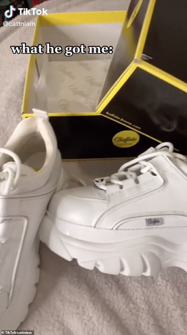The lucky user was also treated to a pair of Buffalo London classic low-top trainers in white patent, which cost around£150
