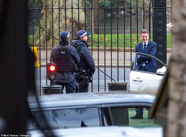 Gavin Williamson was all smiles as he arrived for a meeting at No 10 Downing Street yesterday to discuss opening schools in January. He wants schools to reopen as planned