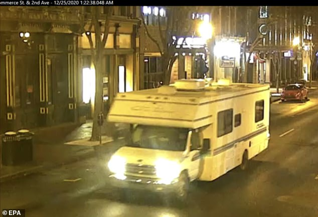 The RV Warner allegedly used in the Christmas morning attack is shown above