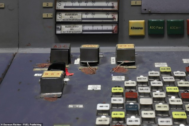 Control Room 3: The top left of these cube-shaped shielded buttons marked A3-5 was the 'scram' kill switch. This manually operated control would immediately terminate the fission reaction by inserting all the control rods at once. In neighbouring Control Room 4, on April 26, 1986, at 1.23am, this switch was flicked and a malfunction occurred, causing the meltdown