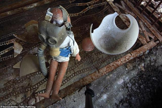Kindergarten No.7, Pripyat: Discarded artefacts are arranged into unlikely dioramas by visitors
