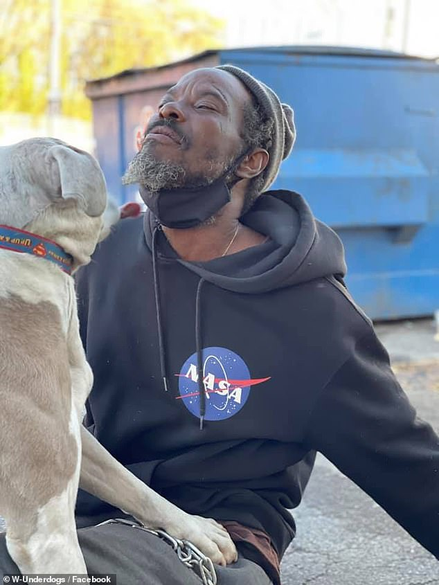 Walker, who has been homeless since he was 13, had been heading to the shelter to pick up his own dog, which he leaves there at night