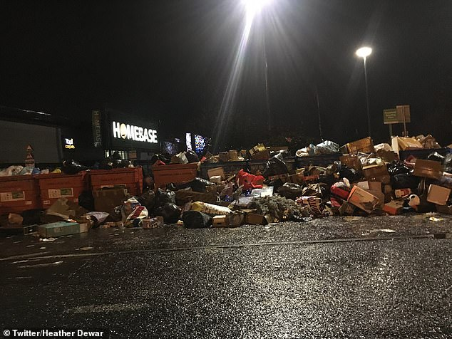 After finding bins full, people have just dumped their rubbish in front at Dumferline retail park