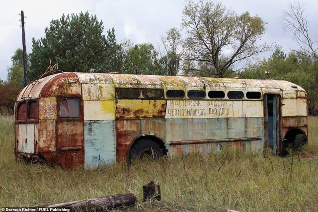 An abandoned trolleybus in Kopachi in the Chernobyl Exclusion Zone. This highly contaminated village was mostly bulldozed after the disaster. In April 2020 this vehicle was severely damaged by forest fires