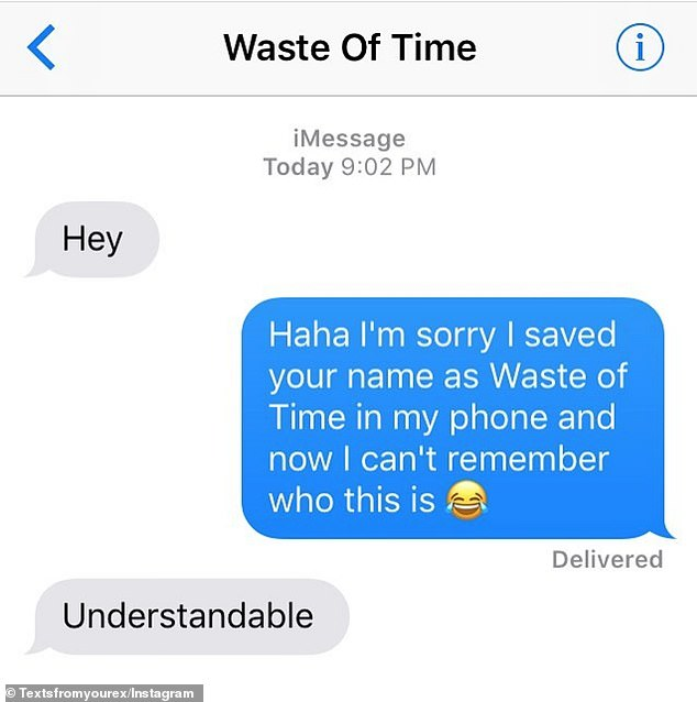Text you never! This person had no idea her ex was texting her after forgetting what she saved his number as on her phone