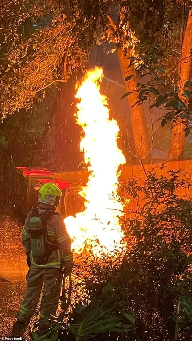 Sydney was hit by storms on Monday night which lingered around on Tuesday morning, when a gas line erupted into flames after being hit by lightning. Pictured are firefighters at the scene in Telopea in western Sydney