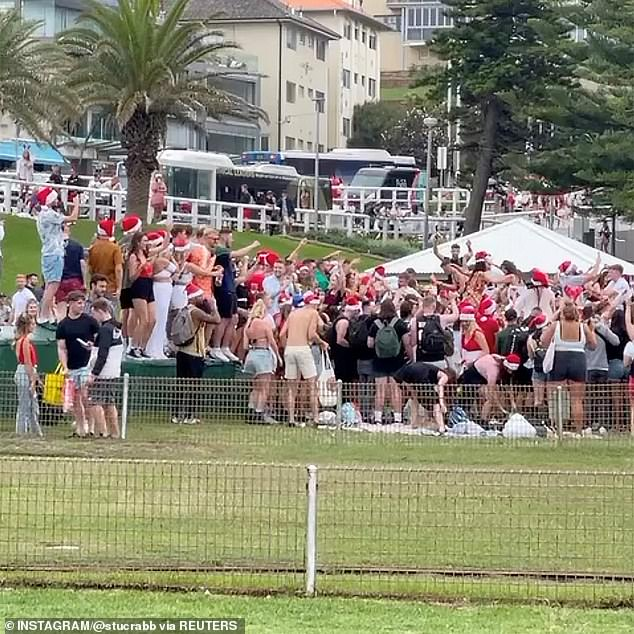A large crowd gathered for the Bronte party (pictured) on Christmas Day. The next day, some 40 revellers gathered at a North Bondi house party on Boxing Day