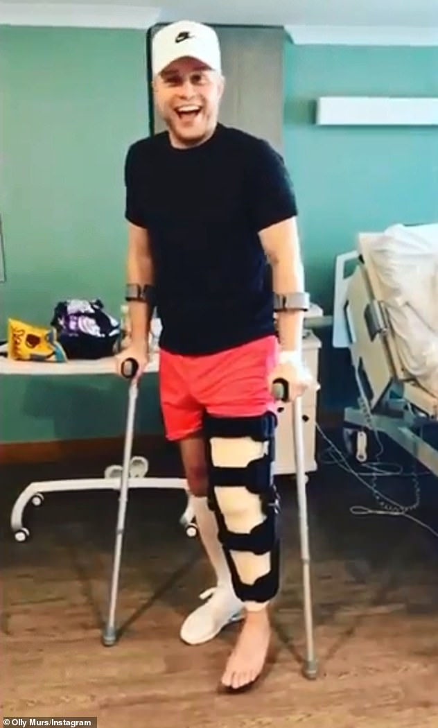 No Knee: Last June, the Troublemaker shared photos of his leg all tied up after his surgery.