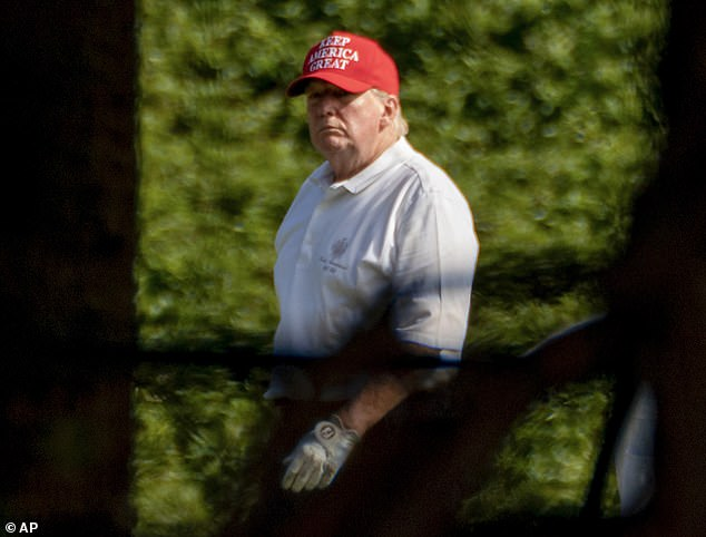 President Trump's public schedule notes he is working 'tirelessly' for the American people; above he's seen on his golf course Monday for his fourth day of golf over Christmas vacation