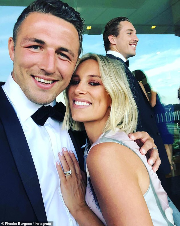 Over: The South Sydney Rabbitohs legend split from his wife Phoebe (pictured, together) in 2019 after first separating in late 2018