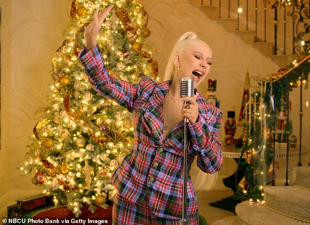 Christmas caroler: She previously appeared on Late Night with Seth Meyers this month, where she performed The Christmas Song, which she covered in 1999 for her holiday album My Kind of Christmas