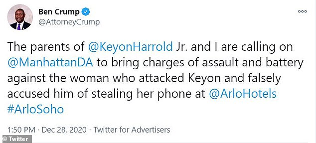Earlier on Monday, Crump took to Twitter and called for her to be criminally charged