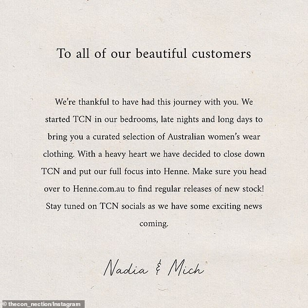 'To all our beautiful customers. We're thankful to have had this journey with you,' one post read