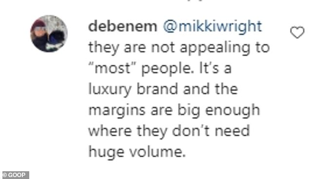 Defending:In her defense however, fans hit back: 'it's a wool silk blend and though steep it's not an unreasonable price. If you want Lycra/nylon/polyester head to Kmart/Walmart/Primark/BooHoo'