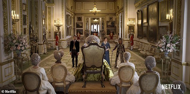 The Long Gallery at Lancaster House, pictured, serves as one of the rooms in Queen Charlotte's palace (pictured)