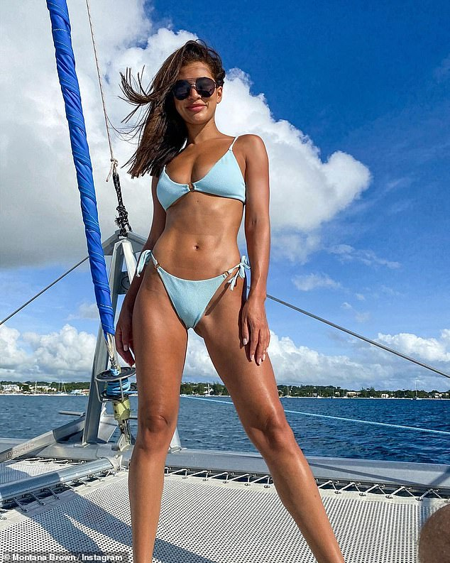 Wow:Montana Brown looked incredible as she enjoyed a relaxing catamaran trip on Monday during her Barbados getaway