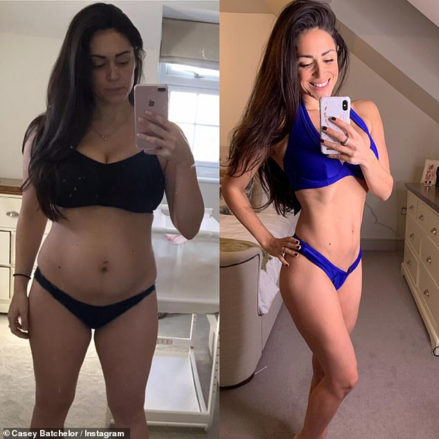 Before and after:Casey Batchelor took to Instagram on Tuesday to show off her incredible before and after body transformation after welcoming her second daughter in January