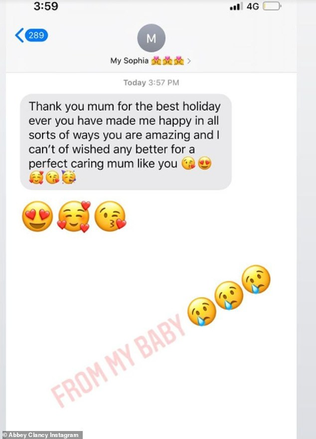 'Best holiday ever':Abbey also posted two screenshots of a text she and husband Peter received off Sophia, thanking them for the 'best holiday ever'
