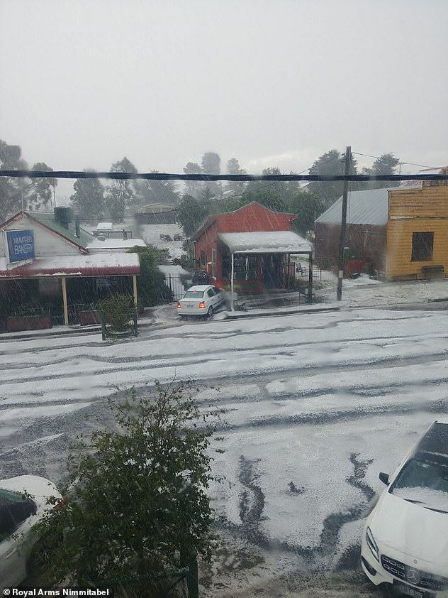 Wild weather pictured in Nimmitabel, in regional south-east New South Wales, on Saturday