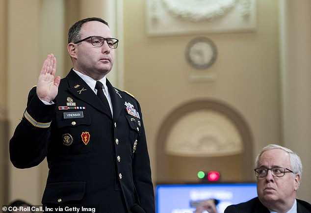 Lt. Col. Alexander Vindman appears in front of the House Intelligence Committee on November 19, 2019. Vindman testified to lawmakers that President Donald Trump had an 'improper' call with Ukrainian PresidentVolodymyr Zelensky