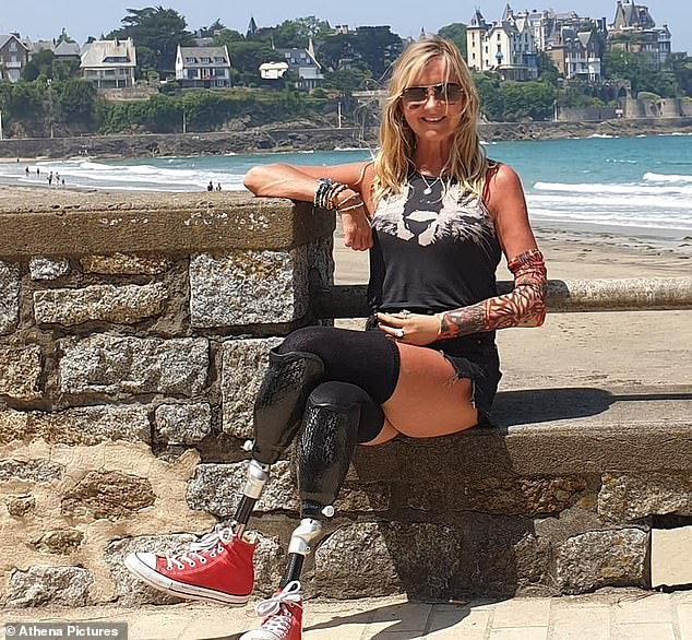 Jayne Carpenter (pictured), 53, who campaigned to highlight the dangers of sepsis, continued to dance and keep-fit using metal prosthetic legs that caused terrible pain and infections