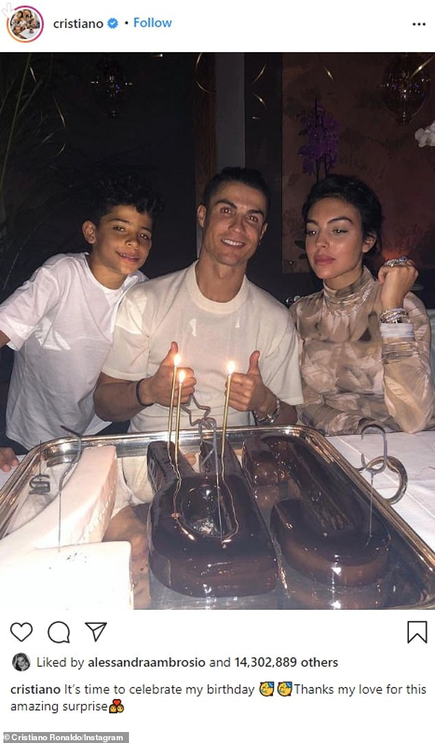 A hit online:The eighth image was of Cristiano Ronaldo and his love Georgina Rodríguez as well as one of their children. The soccer star's post landed 14,312,597 likes on February 5, 2020. 'It's time to celebrate my birthday. Thanks my love for this amazing surprise,' he noted