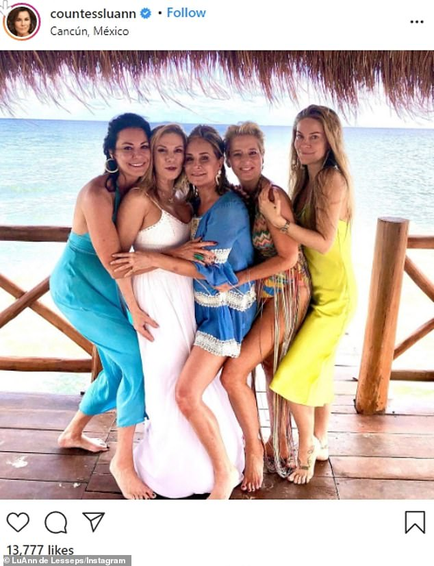 Better times: On Monday, de Lesseps posted a throwback snap to her Instagram account depicting her having some fun in Mexico alongside her RHONY castmates