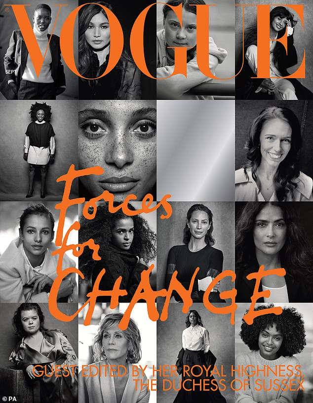 """The cover of British Vogue's September issue, entitled """"Forces for Change"""", which was guest edited by The Duchess of Sussex"""