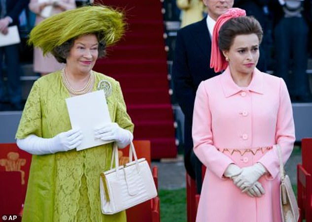 Role: She plays Princess Margaret in the show and told The Crown: The Official Podcast: 'It is dramatized' (Princess Margaret, right, and Queen Elizabeth the Queen Mother, left)